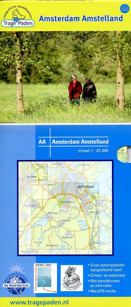 AA  Amsterdam Amstelland | Trage Paden wandelkaart 1:25.000 9789081396189 red.: De Noorderzon, Lopende Zaken, Pied à Terre Reisboekhandel De Noorderzon Trage Paden  Wandelkaarten Amsterdam, Noord-Holland