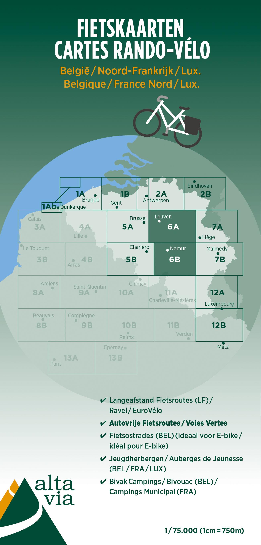 ALV-06  Provincie Brabant & Namen 1:75.000 9789082714432  Alta Via   Fietskaarten Vlaanderen, Wallonië (Ardennen)