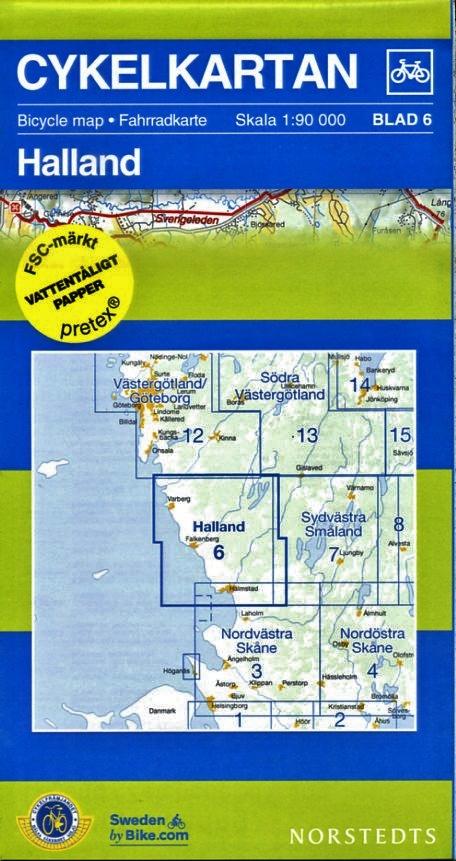 NC-06 Halland 1:90.000 9789113041902  Norstedts Cykelkartan Fietskaarten Zweden  Fietskaarten Zuid-Zweden