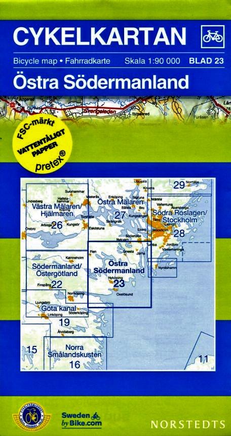 NC-23 Östra Södermanland 1:90.000 9789113041964  Norstedts Cykelkartan Fietskaarten Zweden  Fietskaarten Zuid-Zweden