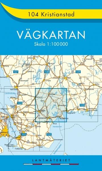 VK-104 Kristianstad 1:100.000 9789158801042  Kartförlaget - Lantmäteriet Vägkartan  Landkaarten en wegenkaarten Zuid-Zweden