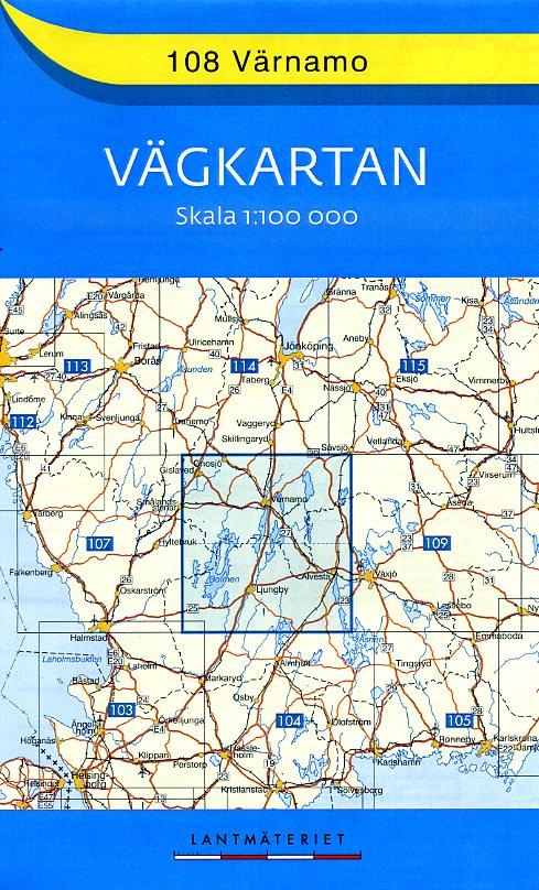 VK-108 Varnamo, Ljungby 1:100.000 9789158801080  Kartförlaget - Lantmäteriet Vägkartan  Landkaarten en wegenkaarten Zuid-Zweden