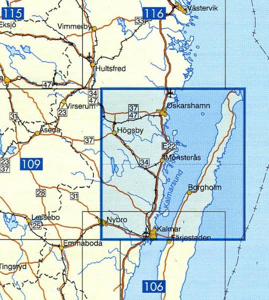 VK-110  Kalmar Län, Oskarshamn 1:100.000 9789158801103  Kartförlaget - Lantmäteriet Vägkartan  Landkaarten en wegenkaarten Zuid-Zweden