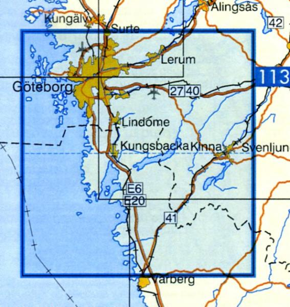 VK-112  Göteborg 1:100.000 9789158801127  Kartförlaget - Lantmäteriet Vägkartan  Landkaarten en wegenkaarten Zuid-Zweden