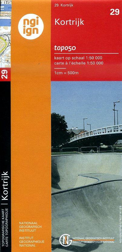 NGI-29  Kortrijk (topografische kaart 1:50.000) 9789462351004  NGI Belgie 1:50.000  Wandelkaarten Vlaanderen