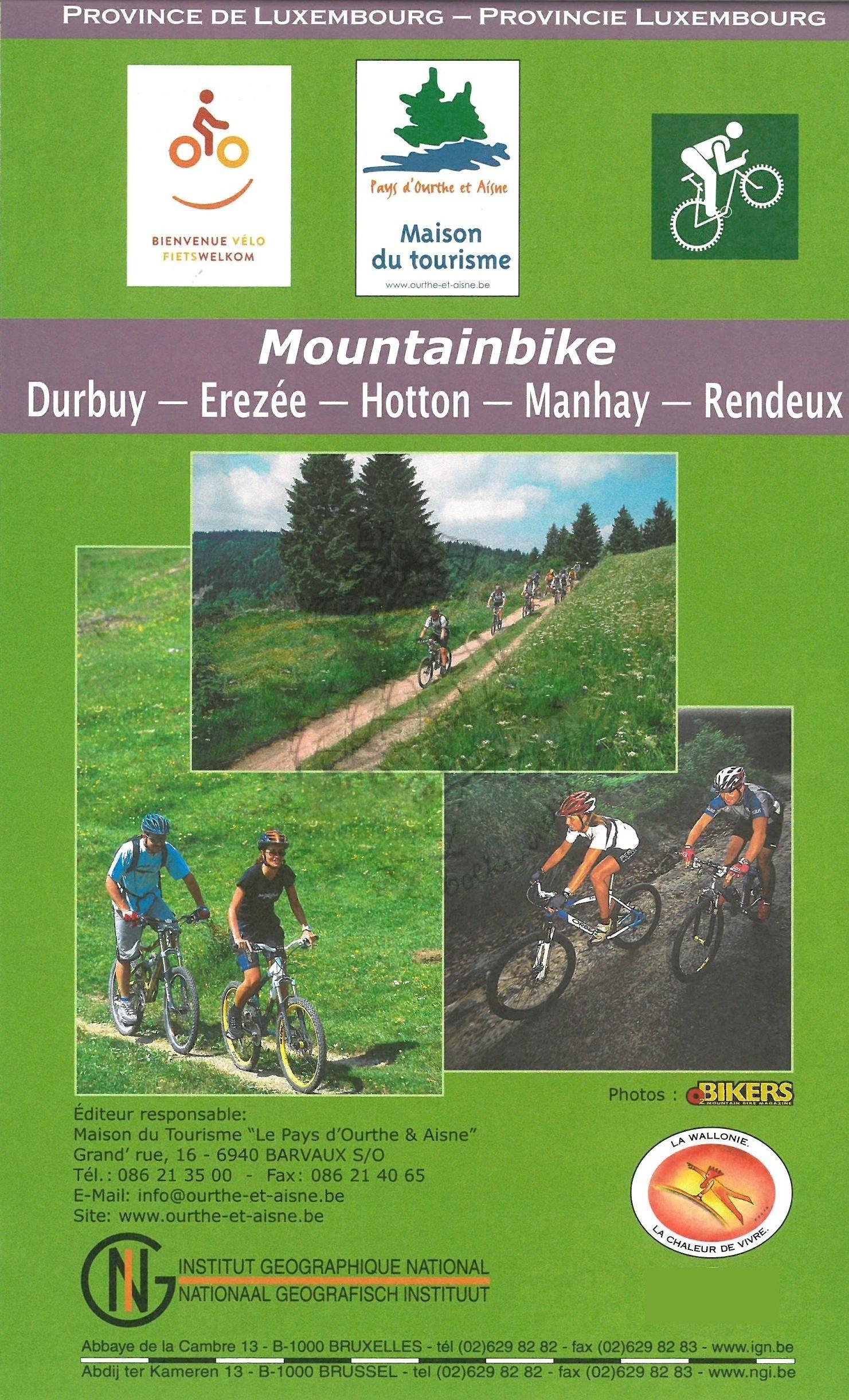Mountainbike kaart Ardennen 9789462351516  NGI NGI/VVV-kaarten 1:50.000  Wandelkaarten Wallonië (Ardennen)