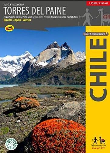 Trekking + Travel Torres del Paine 1:50.000/100.000 9789568925239  Viachile Editores Trekking Maps  Wandelkaarten Patagonië