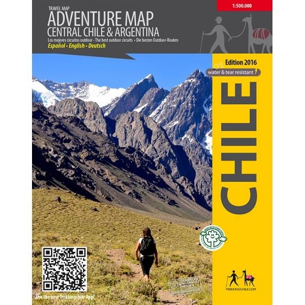Adventure map Central Chile & Argentina 1:500.000 9789568925369  Viachile Editores Trekking Maps  Landkaarten en wegenkaarten Antarctica, Chili, Argentinië, Patagonië