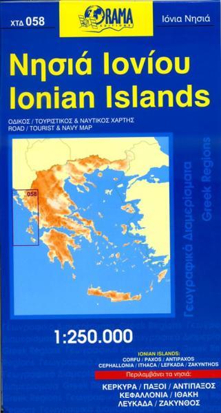 OR-058 Ionian Islands 1:250.000 9789604482122  Orama Griekenland 1:250.000  Landkaarten en wegenkaarten Ionische Eilanden (Korfoe, Lefkas, etc.)