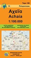 AN 13  Achaia 1:100.000 9789608195189  Anavasi Topo 100  Landkaarten en wegenkaarten Peloponnesos