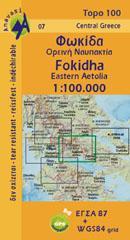 AN 07  Fokidha Upland Nafpaktia 1:100.000 9789608195714  Anavasi Topo 100  Landkaarten en wegenkaarten Midden en Noord-Griekenland, Athene