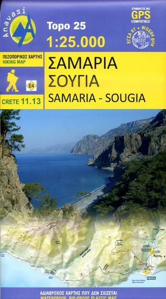 11.13  Samaria Kloof 1:30.000 9789608195851  Anavasi Topo 25  Wandelkaarten Kreta