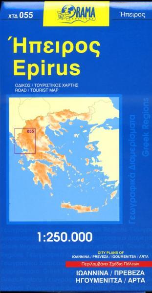 OR-055  Epirus 9789609159364  Orama Griekenland 1:250.000  Landkaarten en wegenkaarten Midden en Noord-Griekenland, Athene