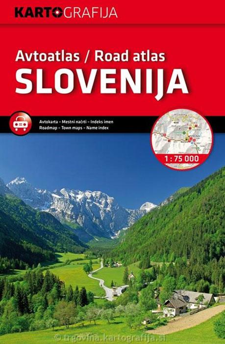 Slovenië | wegenatlas - autoatlas 1:75.000 9789619329320  Kartografija   Wegenatlassen Slovenië