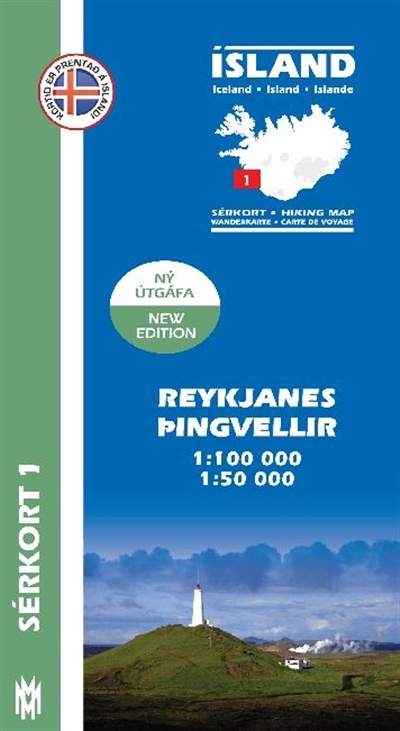SK-01  Reykjanes – Þingvellir 1:100.000 / 1:50.000 9789979330325  Mal og Menning Sérkort  Wandelkaarten IJsland