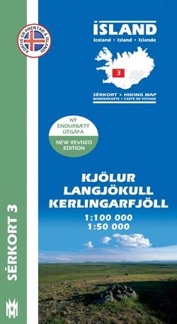 SK-03  Kjölur, Langjökull,Kerlingarfjöll 1:100 000 9789979330349  Mal og Menning Sérkort  Wandelkaarten IJsland