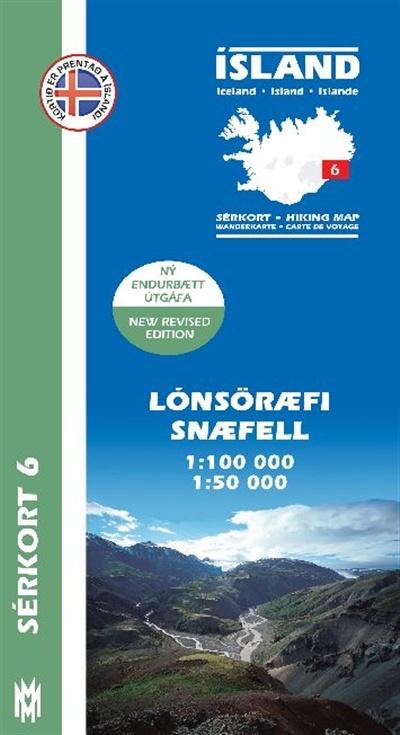 SK-06  Lónsöræfi – Snæfell  1:100.000 / 1:50.000 9789979330370  Mal og Menning Sérkort  Wandelkaarten IJsland