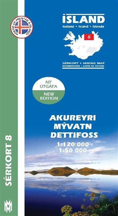 SK-08 Akureyri – Mývatn – Dettifoss 9789979330394  Mal og Menning Sérkort  Wandelkaarten IJsland