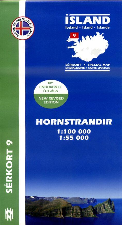 SK-09  Hornstrandir 1:100.000 / 1:55.000 9789979330400  Mal og Menning Sérkort  Wandelkaarten IJsland