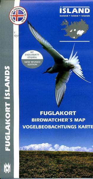 Birdwatchers Map of Iceland 1:500.000 9789979330424  Mal og Menning   Natuurgidsen, Vogelboeken IJsland