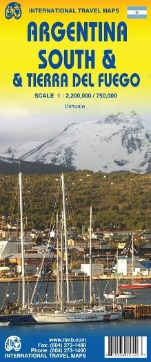 Zuid-Argentinië en Tierra del Fuego | landkaart, autokaart 1:2mln./1:750d 9871553415143  ITM   Landkaarten en wegenkaarten Chili, Argentinië, Patagonië